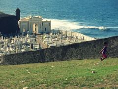 Life (Alex L'aventurier,) Tags: ocean sea mer water girl cemetery grass wall canon kid eau child puertorico fort running sanjuan mur fille pelouse cimetire ocan citadelle gazon courir g15 fortsanfelipedelmorro