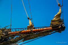 Bowsprit Rigging (JKmedia) Tags: wood cord boat wooden ship harbour plymouth tie bluesky rope maritime sail manmade ropes nautical sutton rigging hessian jute bowsprit canoneos7d boultonphotography