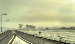 The Black Road. (Alex-de-Haas) Tags: smorgens 50mm d5 hdr january n504 nederland nederlands netherlands nikkor nikkor50mm nikon nikond5 noordholland schoorldammerbrug thenetherlands westfriesland bevroren bridge brug cold daglicht daylight fog foggy freezing frozen handheld haze hazy highdynamicrange januari kou koud landscape landschap licht light mist misty morning nevel nevelig ochtend road vrieskou weg winter