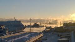 Sea smoke in the morning (AliquisNJ) Tags: helsinki finland winter morning sunrise smoke sea freezing cold