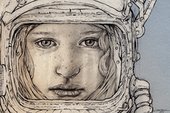 Airlock Discipline (The Searcher) Tags: portrait woman art girl beautiful illustration pencil sketch pretty sad drawing space helmet crying young suit derek cry chatwood poprelics