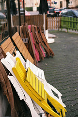 Nellys chairs (Rute Andr) Tags: film yellow 35mm 50mm iso200 spring chairs superia analogue mainz fujicolor