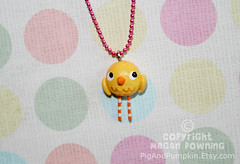 Carrie the Canary (Pig & Pumpkin) Tags: sculpture cute bird yellow necklace handmade originalart charm canary paperclay airdryclay megandowning