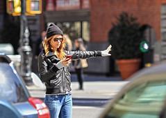 Taxi! (Eric Stone 24) Tags: nyc woman sunglasses taxi hailing