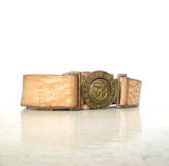 old handmade leather belt with Boys' Brigade brass buckle (Small Earth Vintage) Tags: uk vintage belt handmade christian british accessories brass buckle beltbuckle boysbrigade stedfast youthorganization leatherbelt smallearthvintage beltwithbuckle