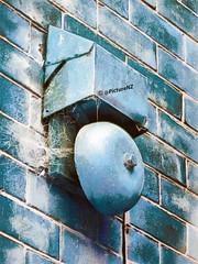A False Alarm (Steve Taylor (Photography)) Tags: city blue newzealand christchurch alarm wall bell box web bricks canterbury cobweb nz southisland cbd grungy