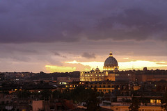 Rome - St. Peter's Basilica (Fabiano Lecce) Tags: rome italy trip travel peter cathedral landscape city eternal magic saint sky clouds rain water romantic travelling lazio europe history cloud nuvola nuvole st church nuovola roma roman sunset view canon canon1100d 1100d tamron basilica stpetersbasilica panorama light lights luce sun sunlight sunshine earth cri christians religion religions christian crepuscolo tramonto cielo skyline allaperto fabianolecce reflex