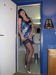 Stockings (Paula Satijn) Tags: blue sexy stockings girl pumps legs tgirl heels slip satin gurl silky nightdress nightie