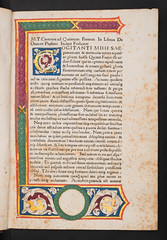 Decorated and illuminated page in Cicero, Marcus Tullius: De oratore (University of Glasgow Library) Tags: white decorative illustrated border vine illuminated gilded initial rubrication rubricated marcustulliusdeoratorebg29 decoratedandilluminatedpageincicero