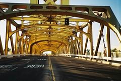The ever Iconic Sacramento Gold Bridge (dannondale) Tags: 35mmfilm sacramento nikonl35
