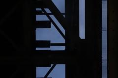 The Bridge (raumoberbayern) Tags: bridge blue sky abstract black up silhouette topv111 munich münchen topv333 himmel struktur structure topv222 minimal blau brücke schwarz robbbilder scherenschnitt hoch braunauereisenbahnbrücke