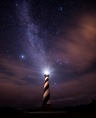 Beacon in the Night (Appalachian Hiker) Tags: lighthouse stars nc hatteras orion jupiter outerbanks milkyway