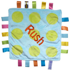 Polka Dot Taggie (initial_impressions) Tags: embroidered personalized polkadot taggie babytoy tagtoy ribbontags blankettoy sensorystimulatingtoy