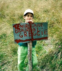 cane_gusalio_1996 (stegdino) Tags: boy hat sign word italian child cartello cappello stefano italiano ragazzo bambino parola