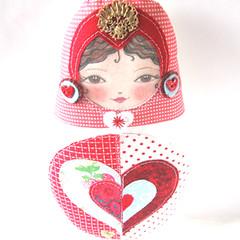 Queen of Hearts - Rosa (Zouzou Design) Tags: uk hearts doll heart sweet queen softie valentines patchwork babushka matryoshka stackingdoll matryoshkadoll matryoshkaplush