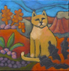 Feb 11 Desert Cat WIP (pati b) Tags: arizona newmexico santafe southwest originalart wip fourcorners shiprock scribbler sandcat naf redrockcountry selftaughtartist patibannisteroriginal