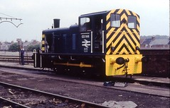 BREL Swindon Works 7th June 1982 with freshly painted BR Drewry 200hp Shunter No. 03144. © (steamdriver12) Tags: new june 1982 paint day open swindon engineering class works british limited railways brel 200hp 03144