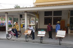 temple lottery ticket vendors (the foreign photographer - ฝรั่งถ่) Tags: thailand bangkok ticket sala bicycles lottery funeral wat songkran vendors mahathat bangkhen prasit