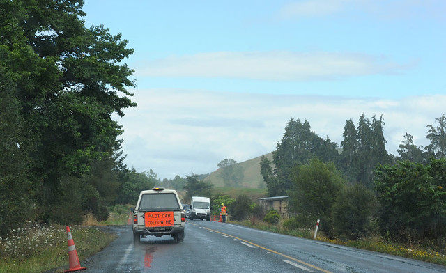road new me car rural construction highway state near 4 shed follow ute zealand repair nz toyota van pilot flagman hilux tikitiki
