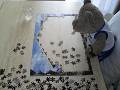 Puzzle time! 3 (pefkosmad) Tags: bear vacation holiday ted teddy hellas fluffy puzzle greece leisure jigsaw greekislands pefkos rodos rhodes dodecanese pefki pefkoi tedricstudmuffin tedrhodes2015