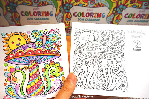 2016 Coloring Calendar Toadstool Page By Thaneeya McArdle