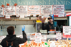 DSC_4441 (miss_michelle) Tags: city downtown farmersmarket fish market outdoors pikeplace rain rainy seattle street