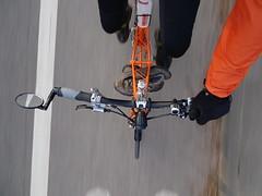 Shoe shuttling (stevenbrandist) Tags: moulton moultonbicyclecompany tsr27 orange colourful motion commute commuting mirror blur