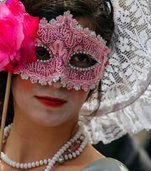 Will I Still Love You Tomorrow? (ybiberman) Tags: israel jerusalem germancolony purim feast mask hat lipstick necklace custom disguise girl portrait candid streetphotography lace pearls