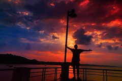 Tourist (AnanthPhoto) Tags: bridge sky india beach clouds sunrise boat goa uploaded:by=flickrmobile flickriosapp:filter=nofilter