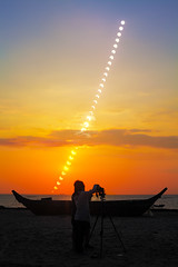 Annular eclipse sequence over Guanyinshan Beach (SteedJoy) Tags: earthandspace peopleandspace bestnewcomer competition:astrophoto=2013