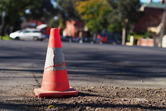 Safety Cone (Joel Bramley) Tags: street field hat dof olympus witches omd bendigo em5