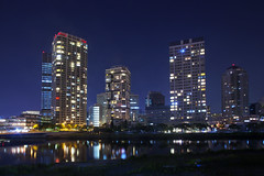 (DigiPub) Tags: city reflection japan horizontal architecture modern night skyscraper river outdoors photography cityscape waterfront citylife tranquility nopeople illuminated midnight yokohama onsale development japaneseculture clearsky gettyimages urbanskyline traveldestinations colorimage buildingexterior 2013  katabirariver tallhigh