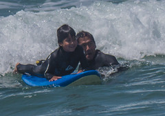 Surf Lessons (ssilberman) Tags: ocean california beach kids dad july surfing learning huntingtonbeach 2013
