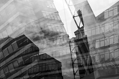 Approach (Peter Rea 13) Tags: street urban blackandwhite abstract station architecture buildings manchester exposure experimental piccadilly multipleexposure approach triple lensblr photographersontumblr
