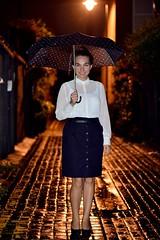I love this one :) (Alex&Liuba) Tags: street girl smile rain night umbrella lights nice lovely