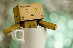 Happiness! (ciccioetneo) Tags: cup japan dof bokeh cartoon mug danbo nikkor80200mm nikkor80200mmf28 danboard nikkor80200mmf28ded nikond7000 revoltechdanbo elbokehwall danboadventures revoltechdandoard