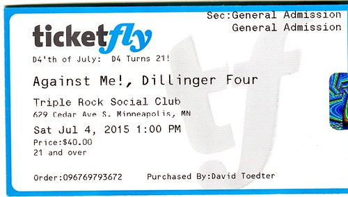 D4'th of July 2015 with Against Me!, Dillinger Four, Lifter Puller, Scared of Chaka, Toys That Kill, Off with Their Heads, Tim Barry, Pink Mink, Nato Coles and the Blue Diamond Band, United Teachers of Music, Triple Rock Social Club, Minneapolis, MN