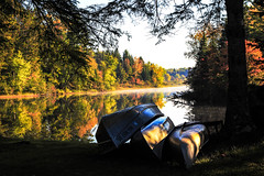 end of the season (A. Wrench) Tags: autumn trees light color fall water colors leaves wisconsin forest reflections river landscape boat woods stream shadows shoreline paddle canoe shore riverbank