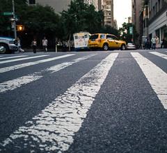 cameradrag (ekonon) Tags: nyc paint manhattan taxi stripe crosswalk asphalt lowangle onepointperspective vision:mountain=061