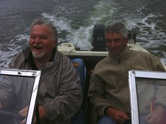Paul boating with friend Dave