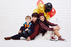 Ivan, Grandma and Mom (LikClick Photography) Tags: family boy white rock balloons studio children kid sitting mother sneakers converse keds alltogether younggrandmother tutudress