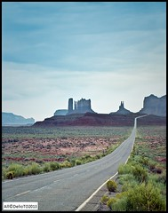 On S163 from Mexican Hat to Monument Pass (DelioTO) Tags: wood usa color history rural landscape utah desert pueblo trails panoramic september 4x5 navajo monumentvalley c41 withlenses autaut ektar100 borealislab
