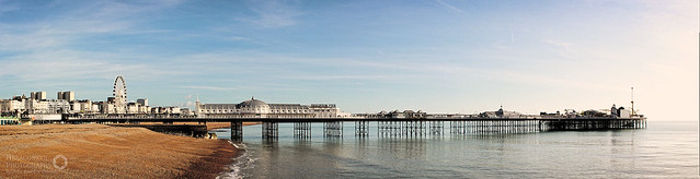 "Brighton's Palace Pier.   4 Shot Hand Held Panorama processed in PTGui.  <a href=""http://hexagoneye.com"" rel=""nofollow"">hexagoneye.com</a>"