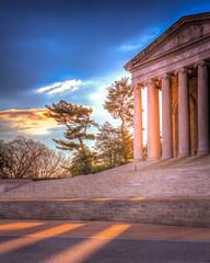 Early Light (Joe Rebello) Tags: sunlight sunrise dc washington rays marble monuments hdr sunbeams ionic tidalbasin thomasjeffersonmemorial vision:sunset=0502 vision:outdoor=0905 vision:street=0847
