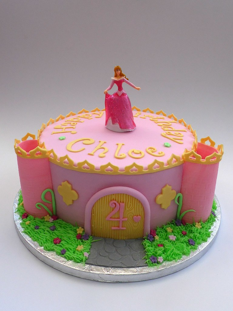 Princess Castle 4th Birthday Cake with Aurora (Fairy Dust Bakery) Tags ...