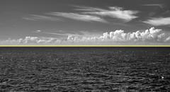 Binary Emphasized (zachstern) Tags: ocean sea sky yellow clouds ir horizon line difference infrared binary division distinction maxmaxcom xnitelumixlx3
