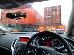 Hemmed in (stevenbrandist) Tags: rain liverpool big container sri trucks 40 dashboard trailer 20 shipping astra vauxhall merseyside motoring portofliverpool eu13aok w867jne
