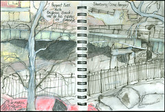 Sharkway/Ocean Parkway. Prospect Park hasta Brighton Beach: una de las espinas de Brooklyn. (Sharon Frost) Tags: brooklyn paintings drawings roads sketches sketchbooks journals oceanparkway sharonfrost daybooks 71op sharkway