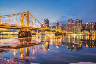 Andy Warhol Bridge before sunrise along the icy Allegheny River in Pittsburgh