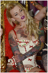 Great British Tattoo Show 2014 (sharkskin2) Tags: sexy london beauty tattoo ink model glamour rubber piercing blonde latex allypally skindeep laurenbrock